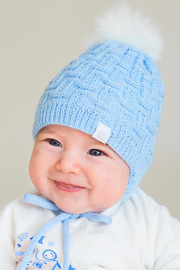 Вязанная шапочка для новорожденного мальчика