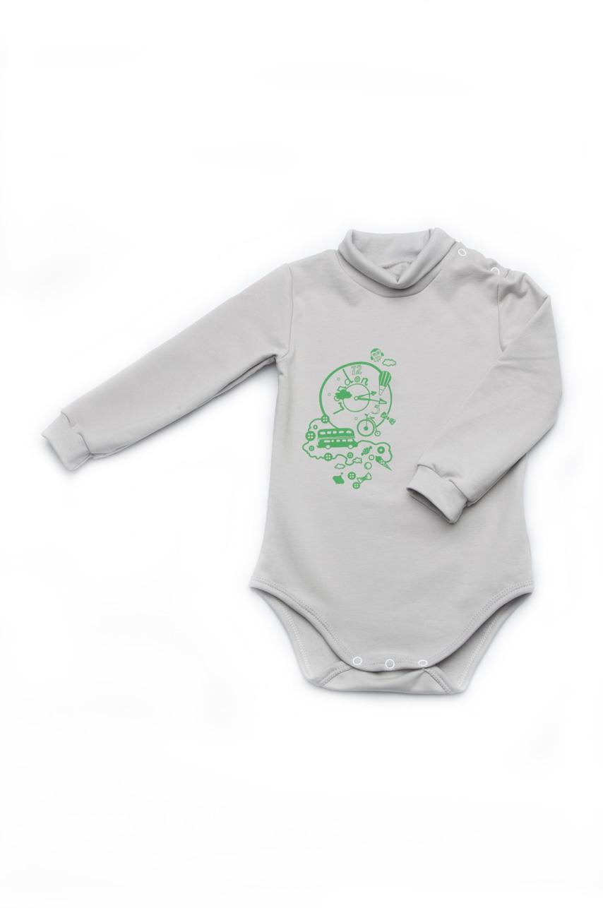 Боди для новорожденного из футера с длинным рукавом