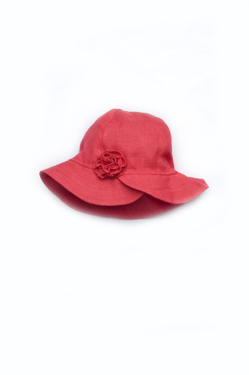Панама для девочки с цветком (лён)