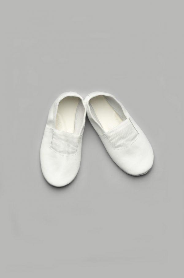 Детские кожаные чешки белые для танцев и спорта