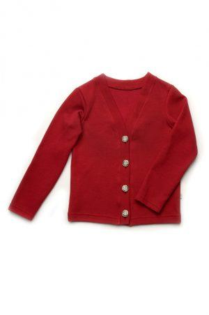 школьный джемпер на пуговицах для девочки бордо