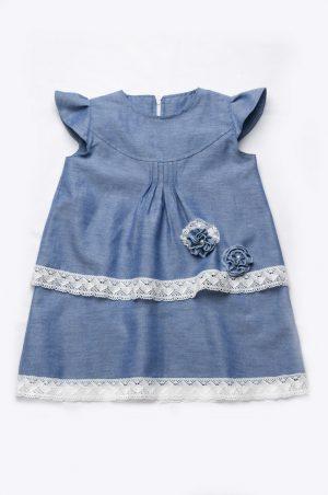 детское джинсовое платье с кружевом купить Харьков