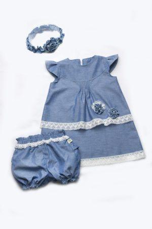 джинсовое платье шортики кружево повязка на голову для девочки недорого