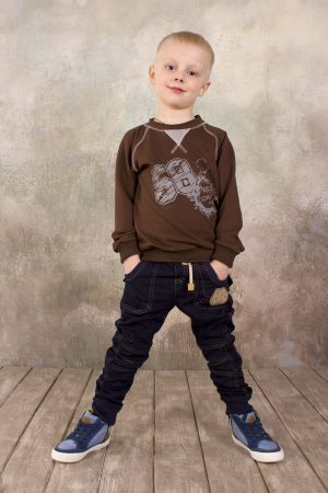 джинсы реглан коричневый двунитка для мальчика