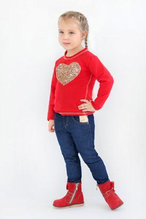 джинсы со вставками красный реглан для девочки