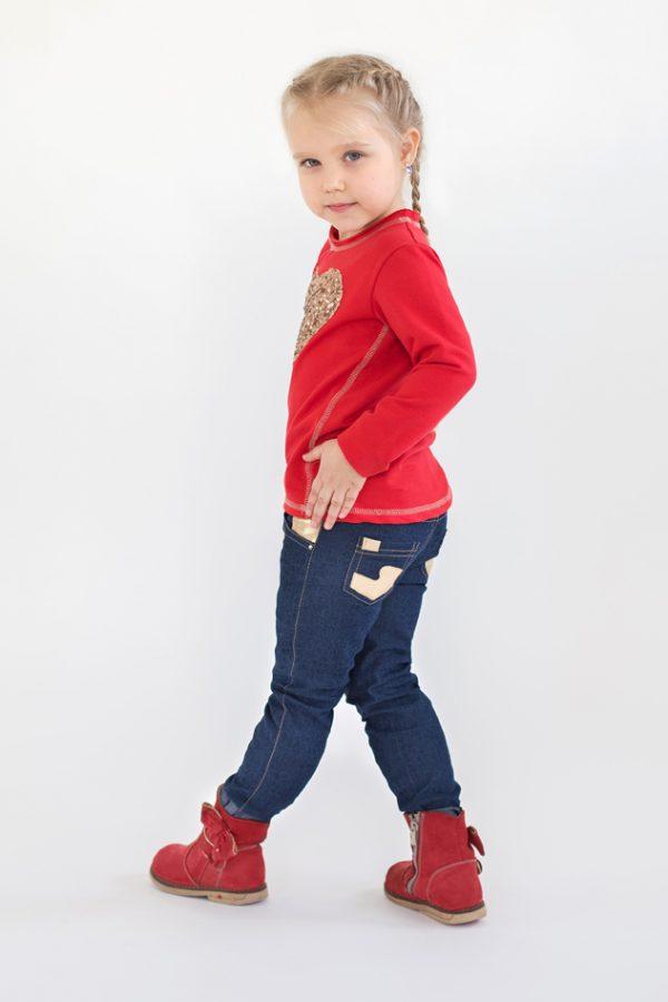 синие джинсы красный реглан для девочки недорого