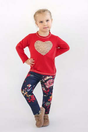 джинсы цветы красный реглан с золотым сердцем для девочки