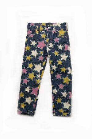 джинсы принтованные звезды для девочки недорого