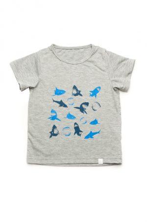 недорогая серая футболка акулы для мальчика Харьков