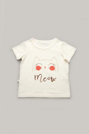 купить качественная молочная футболка котенок недорого