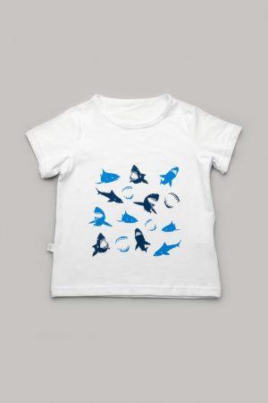 белая футболка с акулами для мальчика купить Днепр