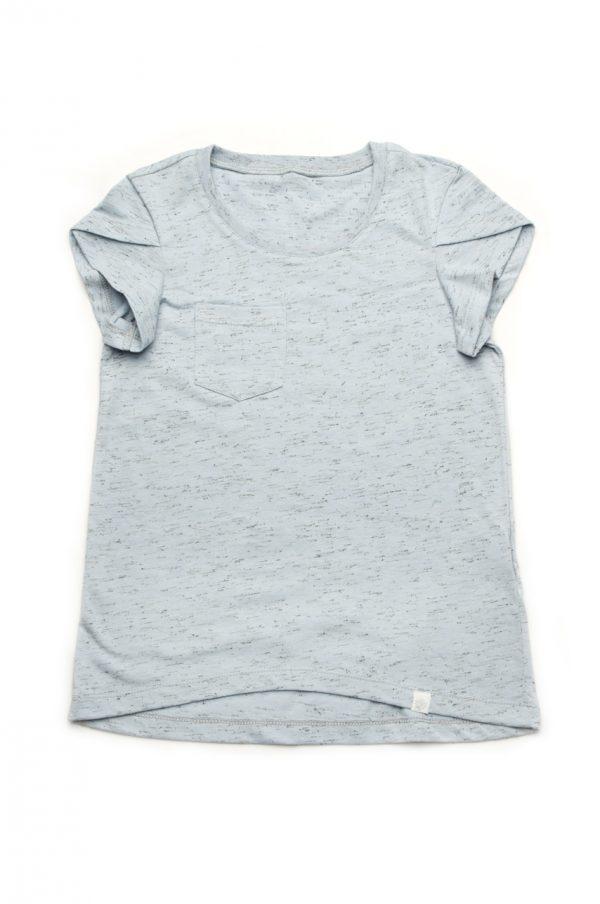 базовая футболка для девочки голубая недорого