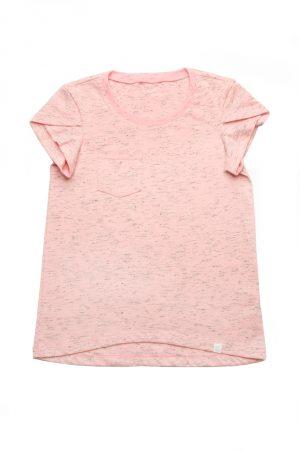 футболка для девочки с карманом розовая меланж