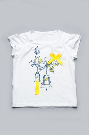 белая футболка с желтым декором купить Киев