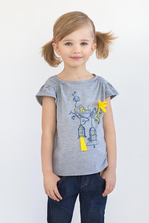 футболка для девочки с декором недорого