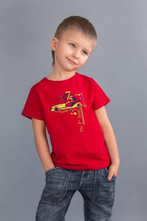 недорогая футболка для мальчика красная от производителя