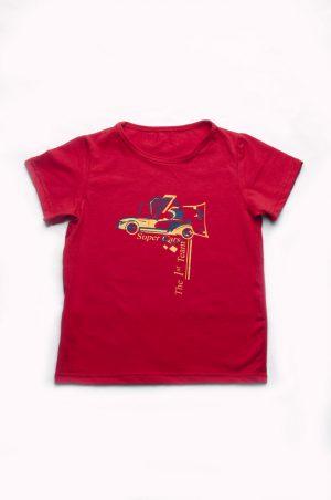 красная футболка для мальчика с машинкой недорого