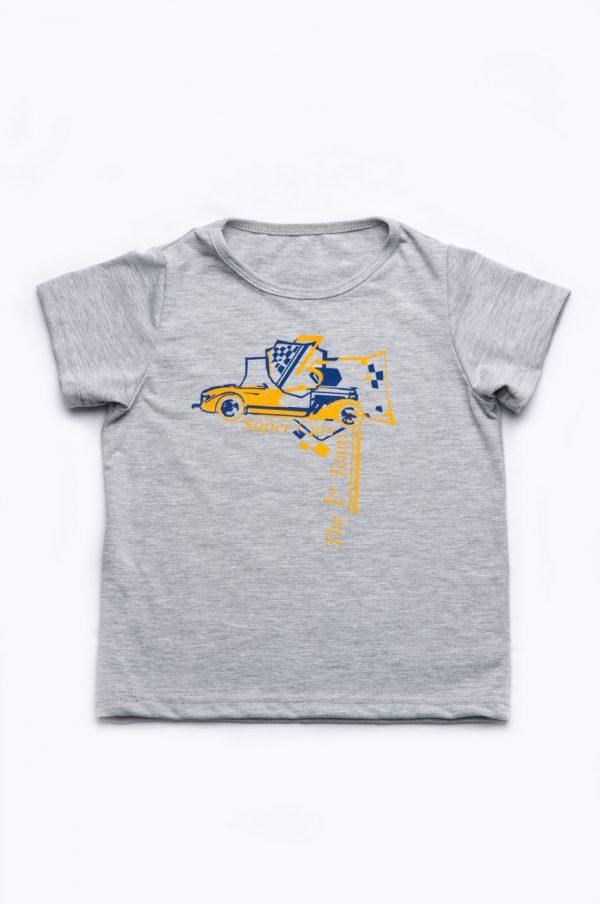 футболка серая с машинкой для мальчика