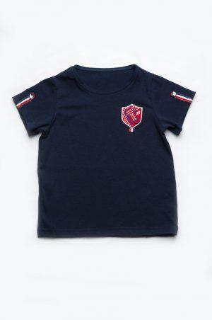 темно-синяя футболка с шевроном для мальчика недорого