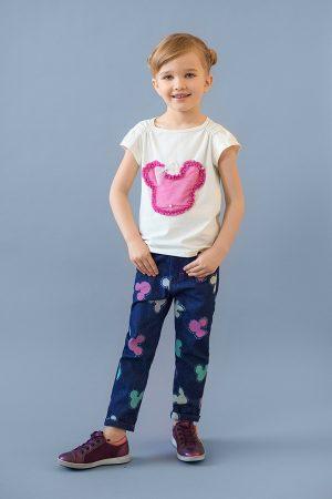 футболка с декором джинсы микки для девочки