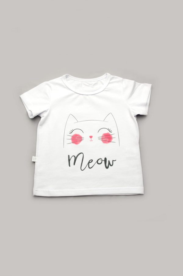 оригинальная футболка белая котенок для девочки купить Харьков