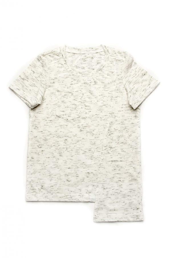 асимметричная футболка белая меланж для мальчика