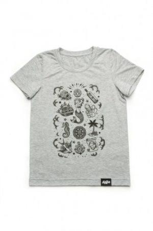 серая футболка для мальчика с морской тематикой недорого