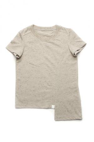 футболка асимметричная с карманом серая меланж купить
