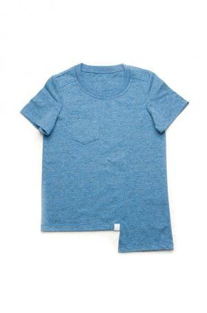 голубая асимметричная спереди футболка для мальчика
