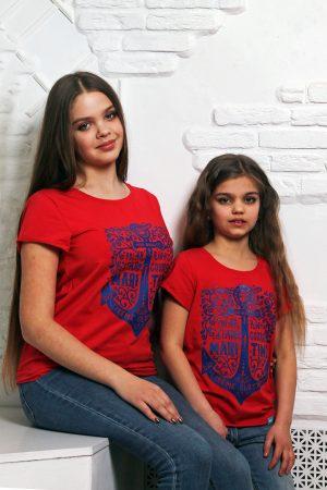 яркая футболка фэмили лук мама дочка для девочки