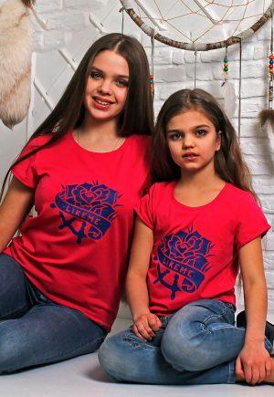 футболка мама дочка family look роза купить Киев