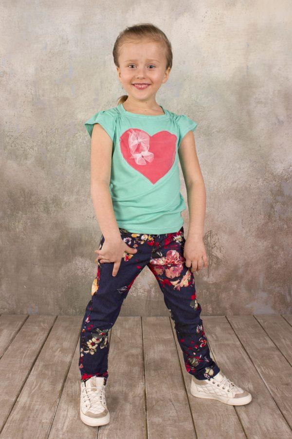 детская футболка мята с аппликацией джинсы цветы