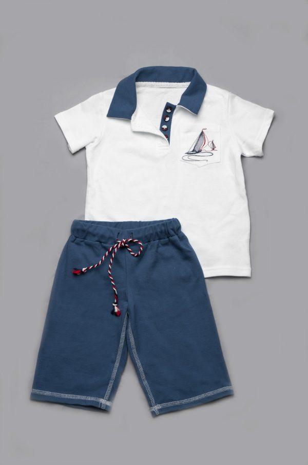 футболка поло белая шорты бермуды синие для мальчика
