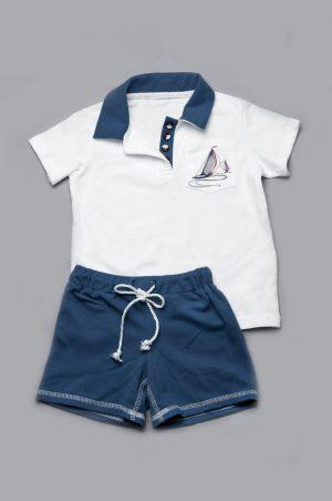 белая футболка поло синие шорты бермуды для мальчика