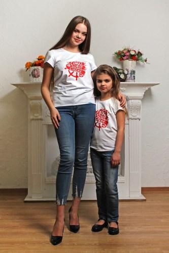 белая футболка фэмили лук мама дочка женская детская недорого