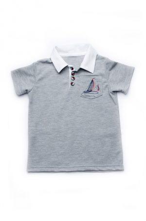 серая футболка поло для мальчика купить Днепр