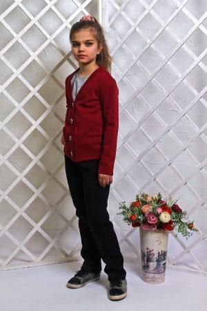 кофта бордовая детская для школы недорого