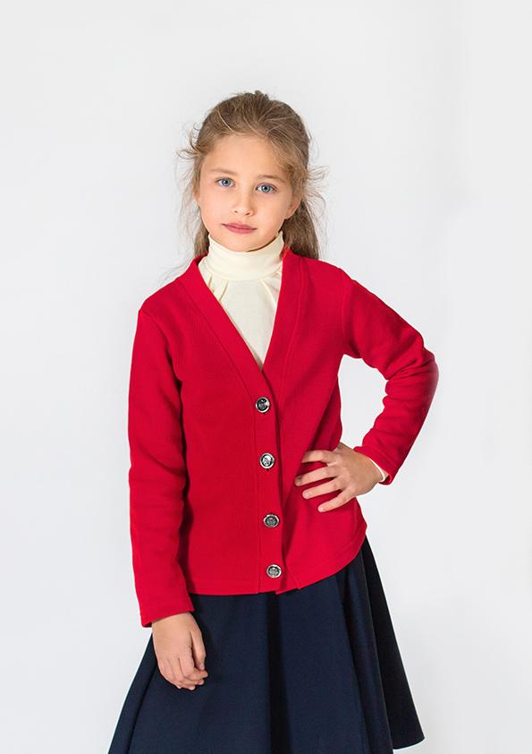 школьный кардиган на пуговицах красный