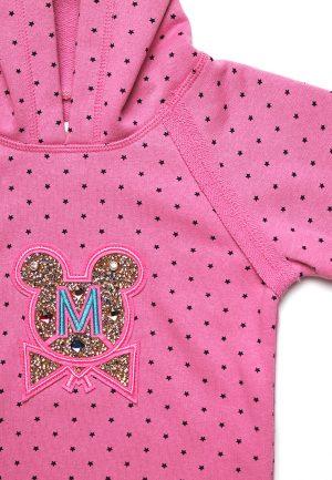 детская кофта розовая в звездочку с вышивкой