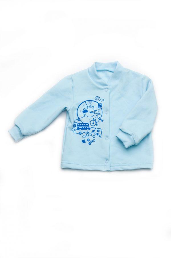 кофта на кнопках футер для новорожденного голубая недорого