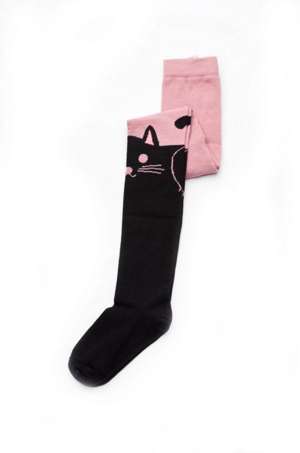розовые колготы рисунок кот недорого