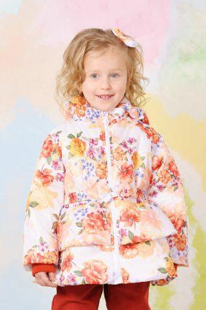 цветочная куртка с баской для девочки недорого Киев