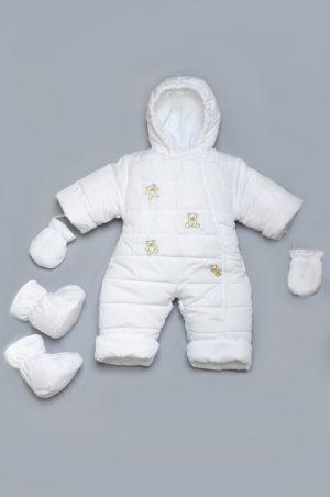 теплый комбинезон для новорожденного сдельный белый