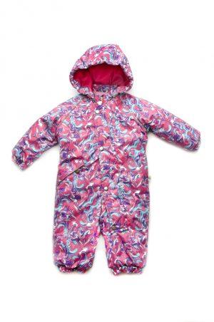 яркий розовый сдельный комбинезон зима для девочки купить