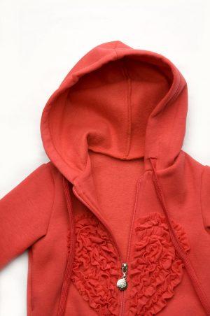 кофта с капюшоном на молнии костюм для девочки недорого