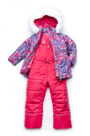 яркий зимний костюм куртка штаны для девочки