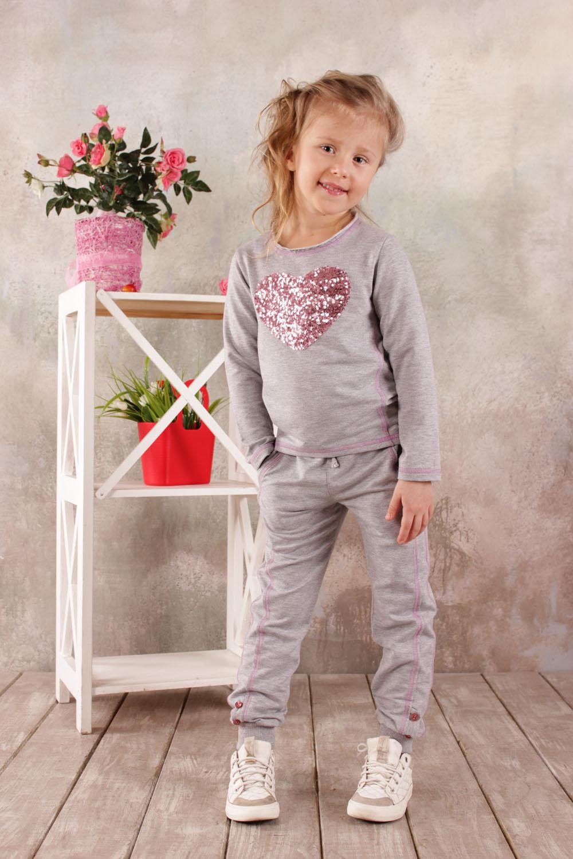 866ad2ec Детские брюки для девочки из хлопковой ткани светло-серые купить ...