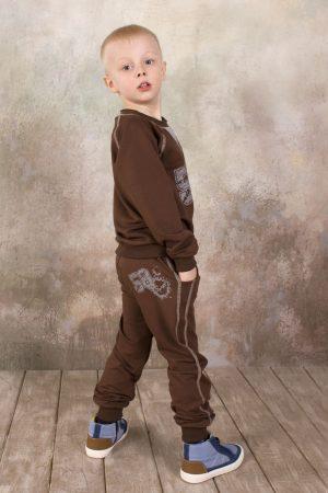 костюм двунитка коричневый для мальчика купить Харьков