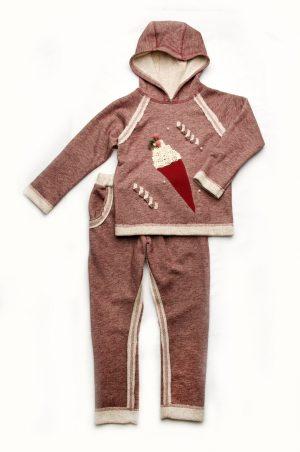 спортивный костюм трехнитка с декором для девочки бордо