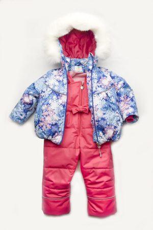 яркий зимний костюм комбинезон снежинка для девочки недорого